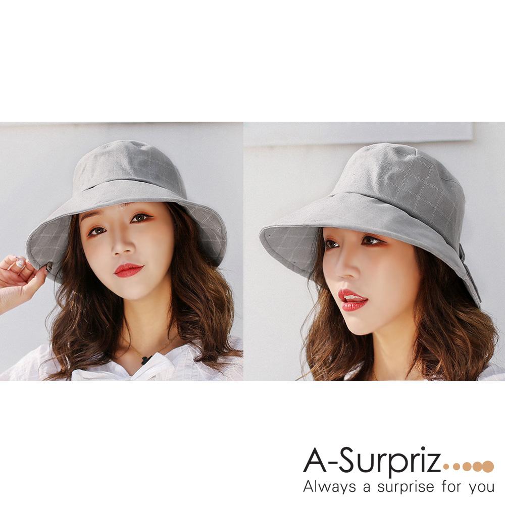 A-Surpriz 氣質格紋蝴蝶結遮陽布帽(灰)