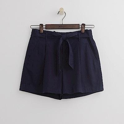 Hang Ten - 女裝 -腰間綁帶純色寬鬆短褲-藍色