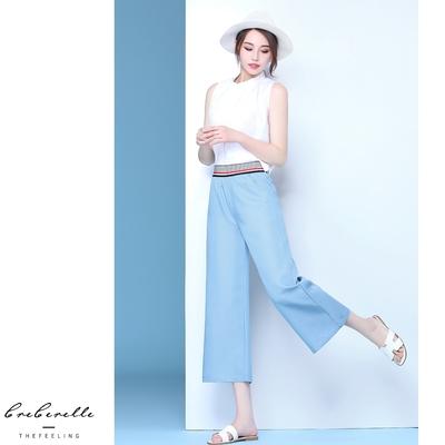 UGIZ-(限時)韓系鬆緊腰頭舒適造型闊腿褲-淺藍(S-2XL)