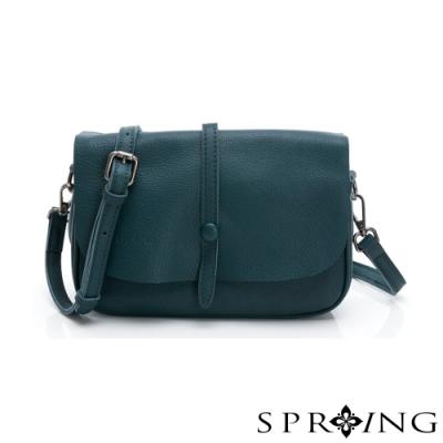 SPRING-經典牛皮系列小方包-湖藍色