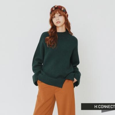 H:CONNECT 韓國品牌 女裝 - 開岔設計高領針織上衣-綠(快)