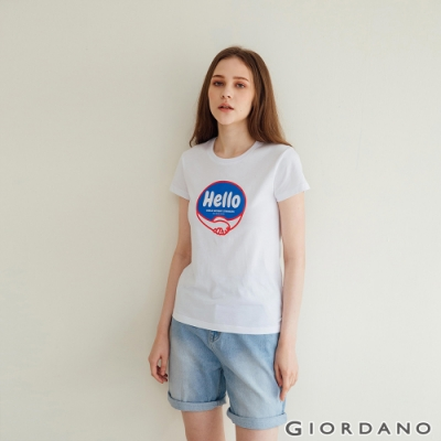 GIORDANO  女裝Greeting印花T恤 - 21 標誌白