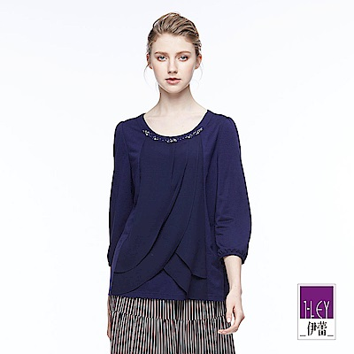 ILEY伊蕾 優雅簡約縫飾上衣魅力價商品(藍)