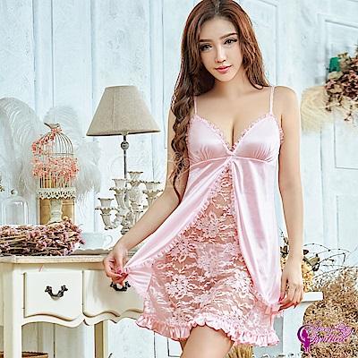 Sexy Cynthia性感睡衣 甜美粉色系蕾絲柔緞二件式性感睡衣-粉F