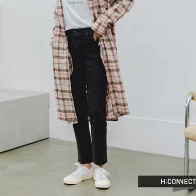 H:CONNECT 韓國品牌 女裝 -微彈不收邊直筒牛仔褲-黑