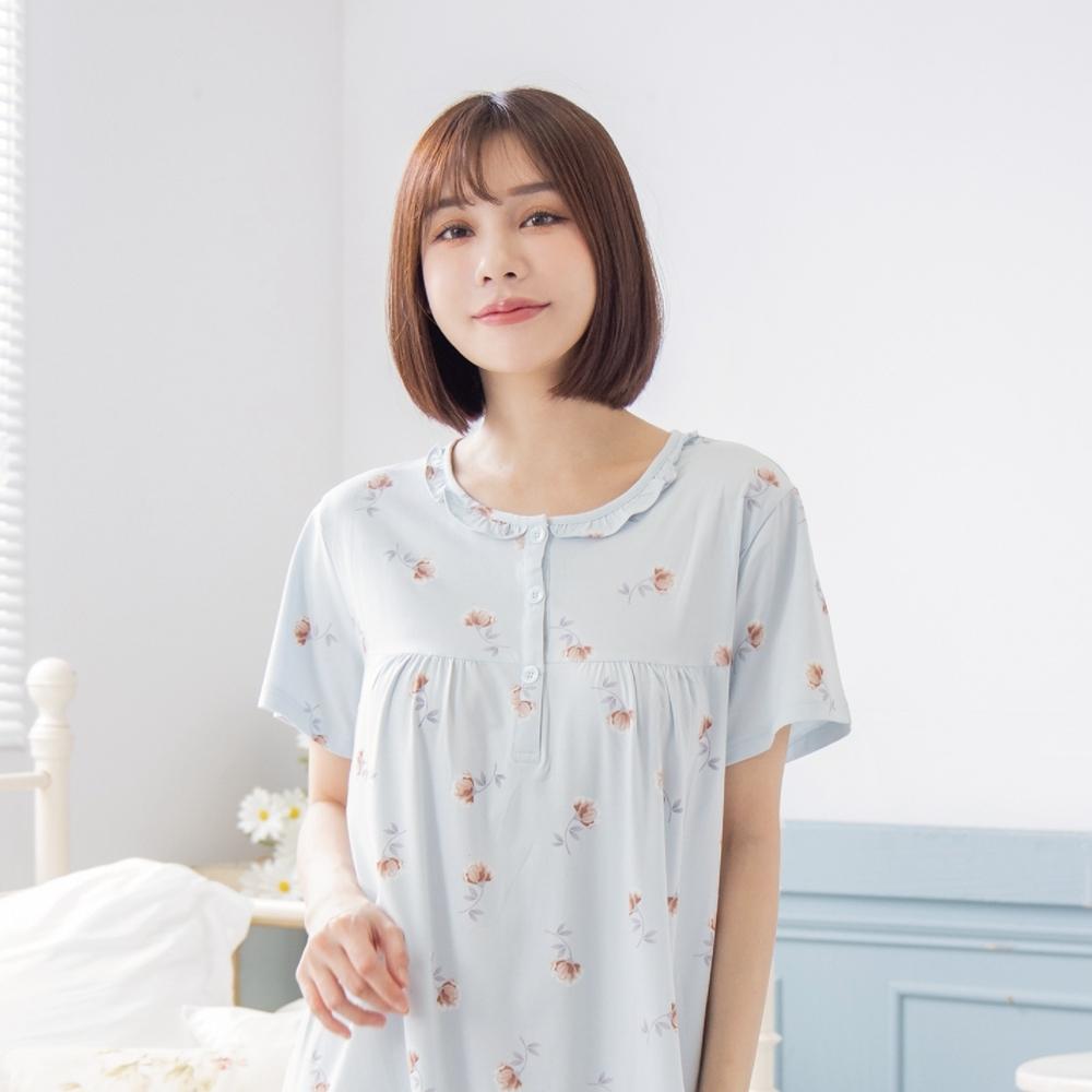 RoseMony羅絲夢妮 - 恬靜花語短袖半開釦洋裝睡衣(薔薇藍) (薔薇藍)