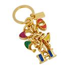 COACH金屬彩色亮粉文字串單環鑰匙圈