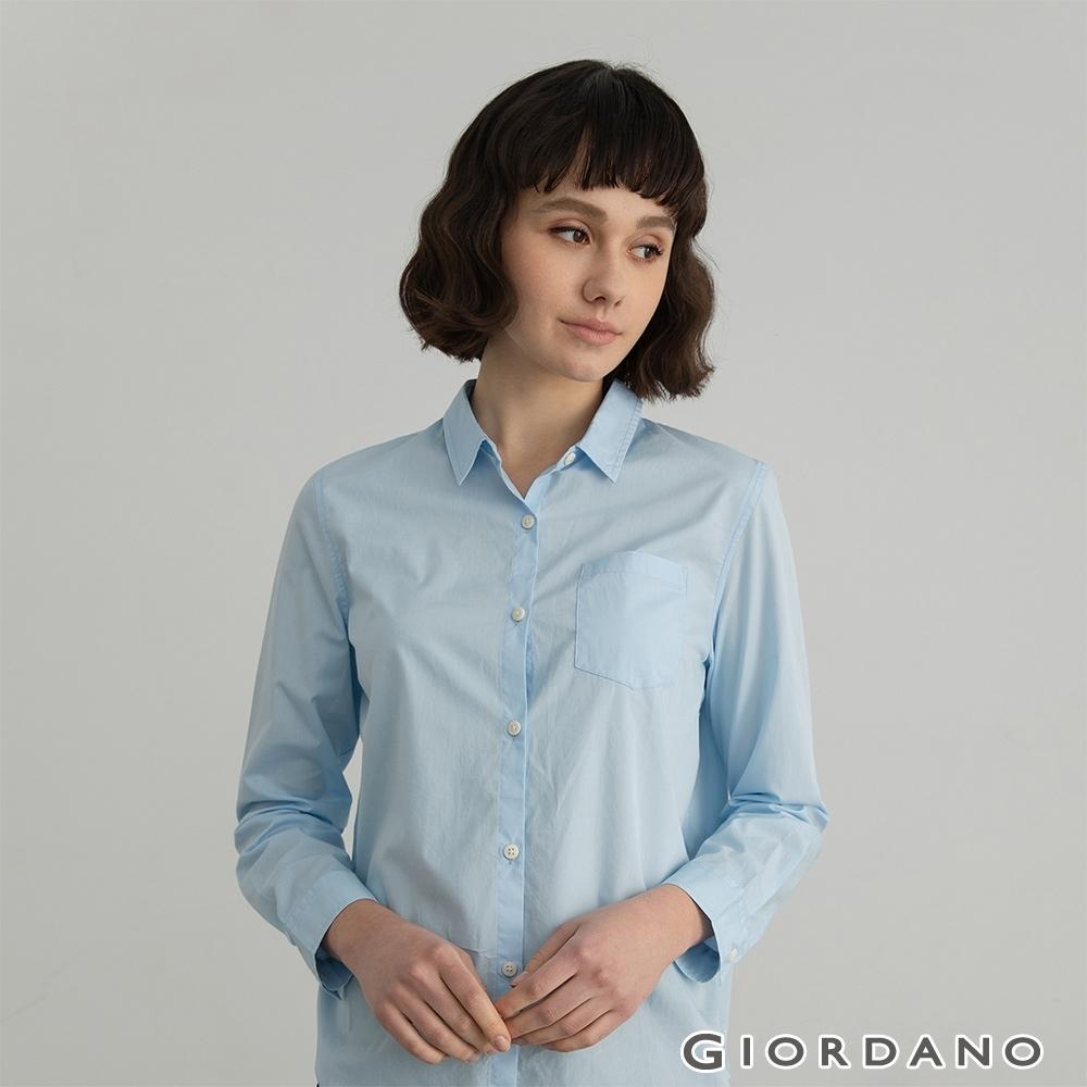 GIORDANO  女裝純棉口袋襯衫 - 01 淺藍