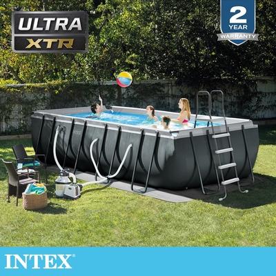 【INTEX】長型框架速搭大型游泳池(附砂濾水泵)549x274x132cm(17203L)適用6歲+ (26355EH)