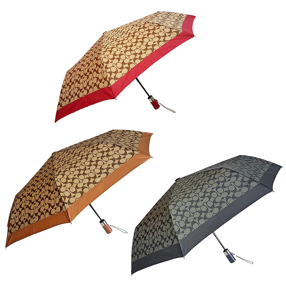 COACH 時尚經典長把滿版LOGO自動晴雨傘(多色)COACH