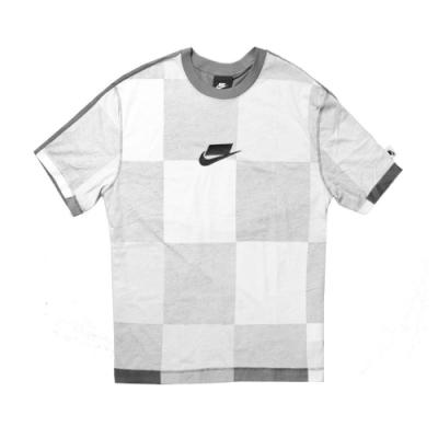 Nike T恤 NSW Top 運動休閒 男款 特殊LOGO 方格 穿搭 圓領 棉質 灰 黑 CJ5074068