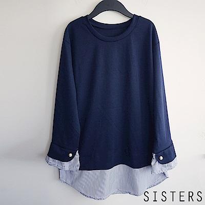 韓國小香氣質拼接花苞袖襯衫上衣 SISTERS