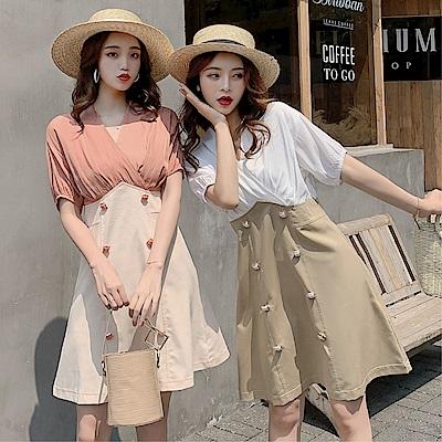 DABI 韓國風V領收腰修身雙排扣假兩件短袖洋裝