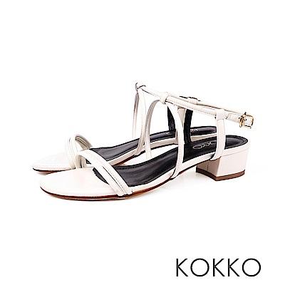 KOKKO - 女神降臨細帶真皮低跟涼鞋 - 王妃米