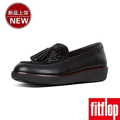 FitFlop PETRINA CRYSTALLED LOAFERS-黑色