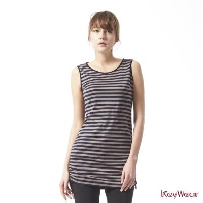 KeyWear奇威名品    親膚經典條紋自由抽繩無袖洋裝-灰色