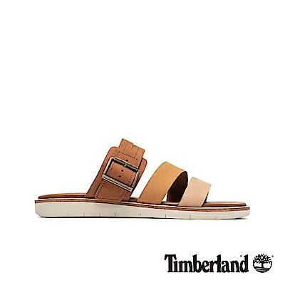 Timberland 女款棕色撞色休閒露趾拖鞋|A1VMC