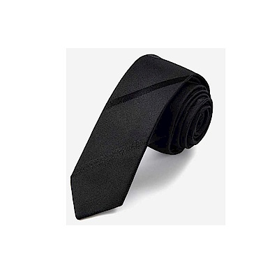拉福  斜紋5CM窄版領帶拉鍊領帶(兒童黑色)