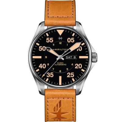 Hamilton 漢米爾頓 卡其航空系列PILOT DAY DATE機械腕錶-黑x黃/46mm