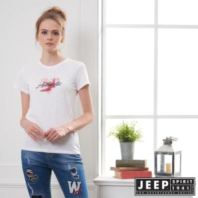 JEEP 女裝 夏季印花輕薄短袖TEE-象牙白