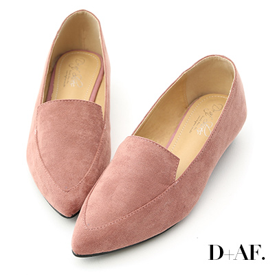 D+AF 都會俐落.絨料尖頭金屬低跟鞋*粉