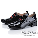 Keeley Ann慵懶盛夏 漆皮質感條紋粗跟包鞋(黑色)