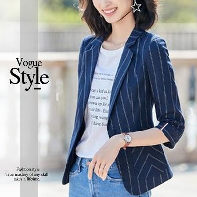 2F韓衣-經典翻領反摺袖條紋造型西裝外套-3色(M-XL)