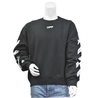 OFF-WHITE 標籤指示圖案棉質長袖厚版T恤(黑)
