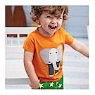 男童 中小童 歐美風格舒柔棉短袖T恤-橘色大象