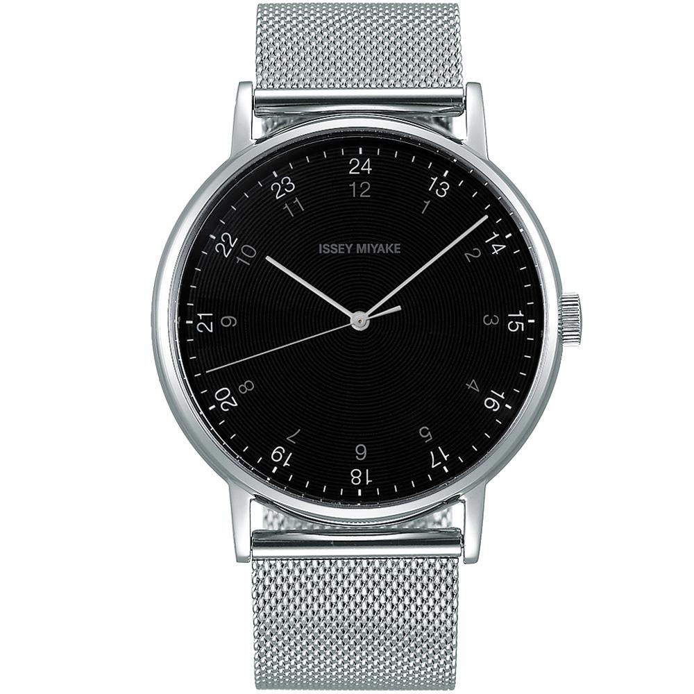 ISSEY MIYAKE 三宅一生f系列簡約百搭米蘭帶錶(NYAJ702Y)-黑/39mm