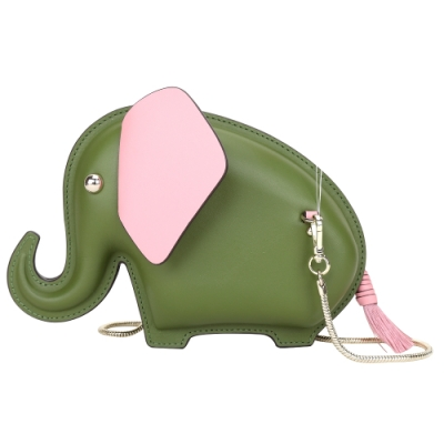 Kate Spade Tiny 撞色大象造型鍊帶牛皮手拿包/斜背包(綠色)