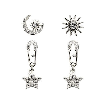 Prisme 美國時尚飾品 閃耀星空水鑽銀色耳環