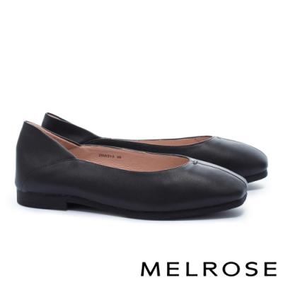 低跟鞋 MELROSE 簡約時尚全真皮低跟鞋-黑
