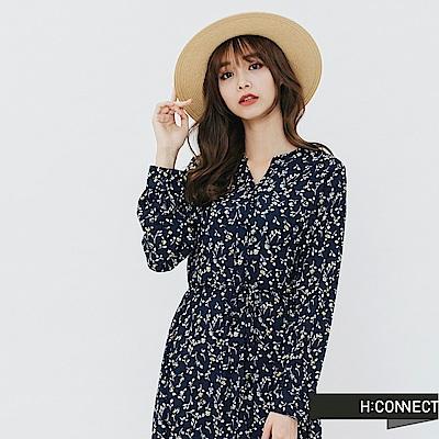 H:CONNECT 韓國品牌 女裝-排釦碎花長洋裝-藍