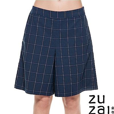 zuzai 自在輕感格紋百慕達短褲-女 藍色