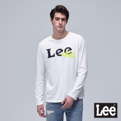 Lee 長袖薄T 大LOGO花 男 白