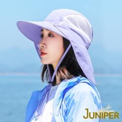 JUNIPER 女款抗UV防紫外線寬大帽眉遮陽休閒帽+可拆式披風