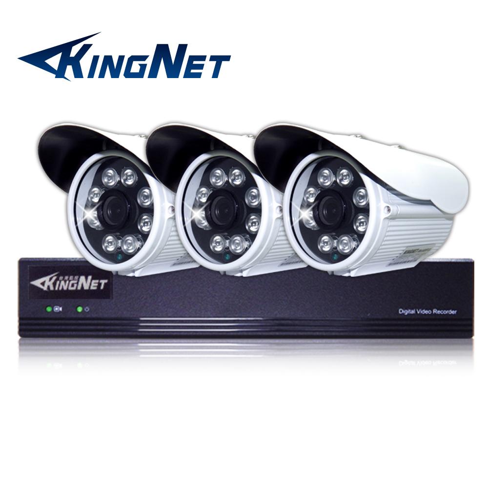 監視器攝影機 KINGNET 4路4MP監控主機 + 3支 HD 1080P 防水槍型 @ Y!購物