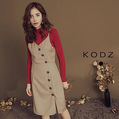 東京著衣-KODZ 名模LOOK時髦排釦細肩帶洋裝-S.M.L(共二色)