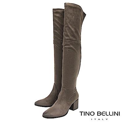Tino Bellini 義大利進口刷色爆裂紋中跟過膝長靴 _ 駝灰