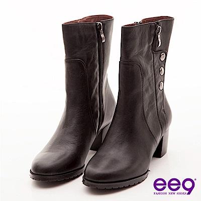ee9 都會佳麗~造型拉鍊金屬釦真皮中筒粗跟靴~風情黑