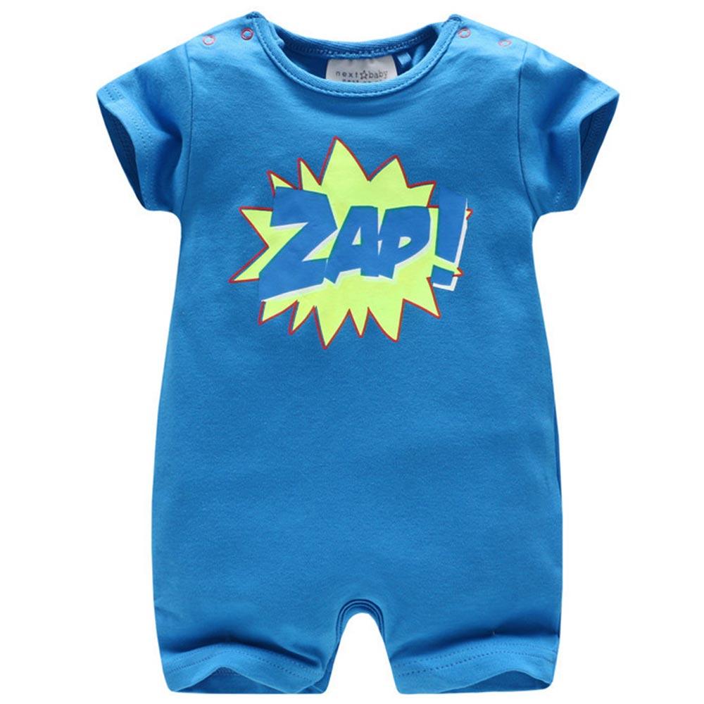 Baby unicorn 藍色字母短袖連身衣