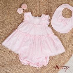 Annys安妮公主-0歲~4歲Baby甜心小花花舒適荷葉無袖套裝*0558粉