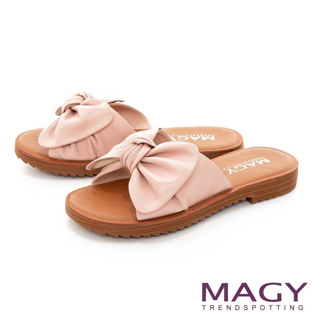MAGY 大蝴蝶結造型真皮平底 女 拖鞋 粉色