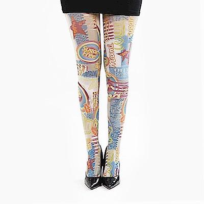 摩達客 英國進口義大利製Pamela Mann 歡樂藝術圖紋彈性褲襪