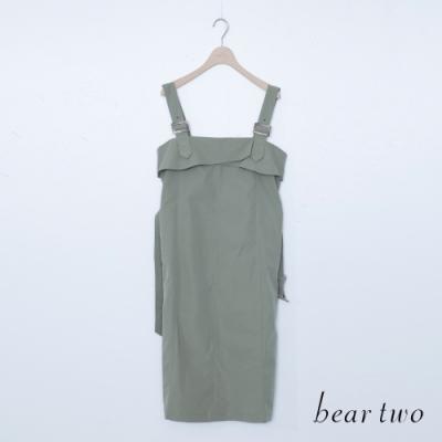 beartwo-素面修身吊帶洋裝-深綠