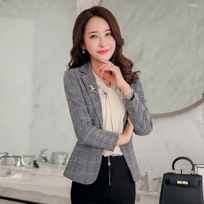 韓版氣質修身格紋單扣小西裝外套M-3XL(共二色)-Dorri