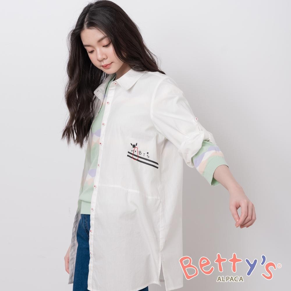 betty's貝蒂思 簡約都會男友風長版襯衫(白色)
