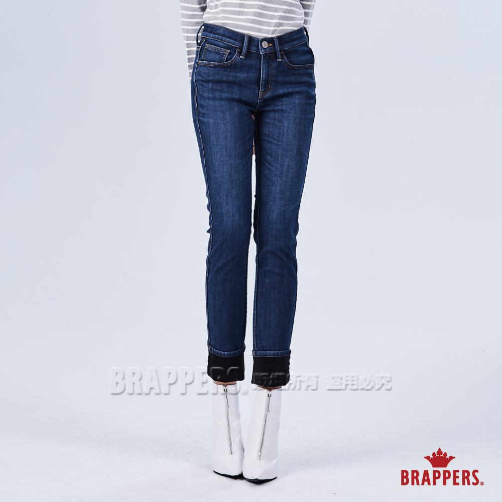 BRAPPERS 女款 新美腳ROYAL系列-中高腰彈性保暖窄管褲-深藍