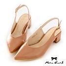Mori girl簡約皮紋微尖頭鞋後空低跟鞋 粉